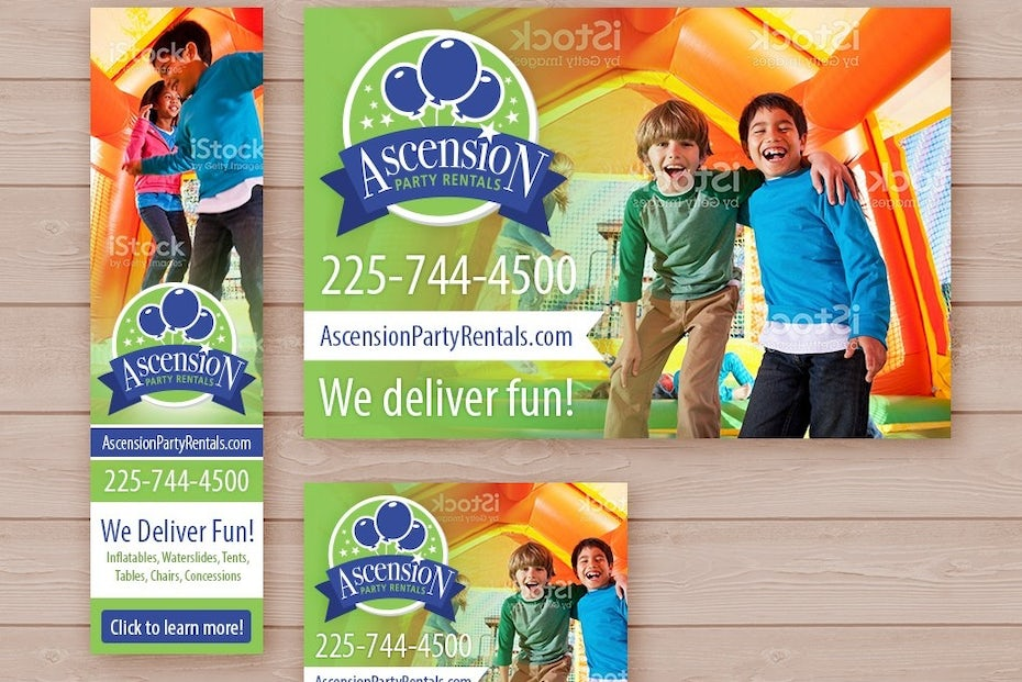 scension Party Rentals banner ad design