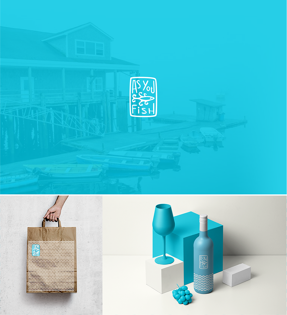 Logo design and mockup for a seafood brand