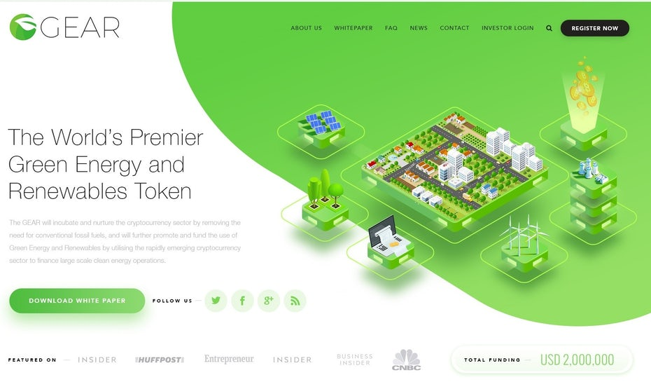 Blockchain Cryptocurrency ECO Green Company web design