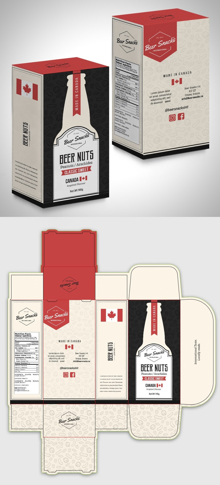 Packaging box design for a beer snacks brand