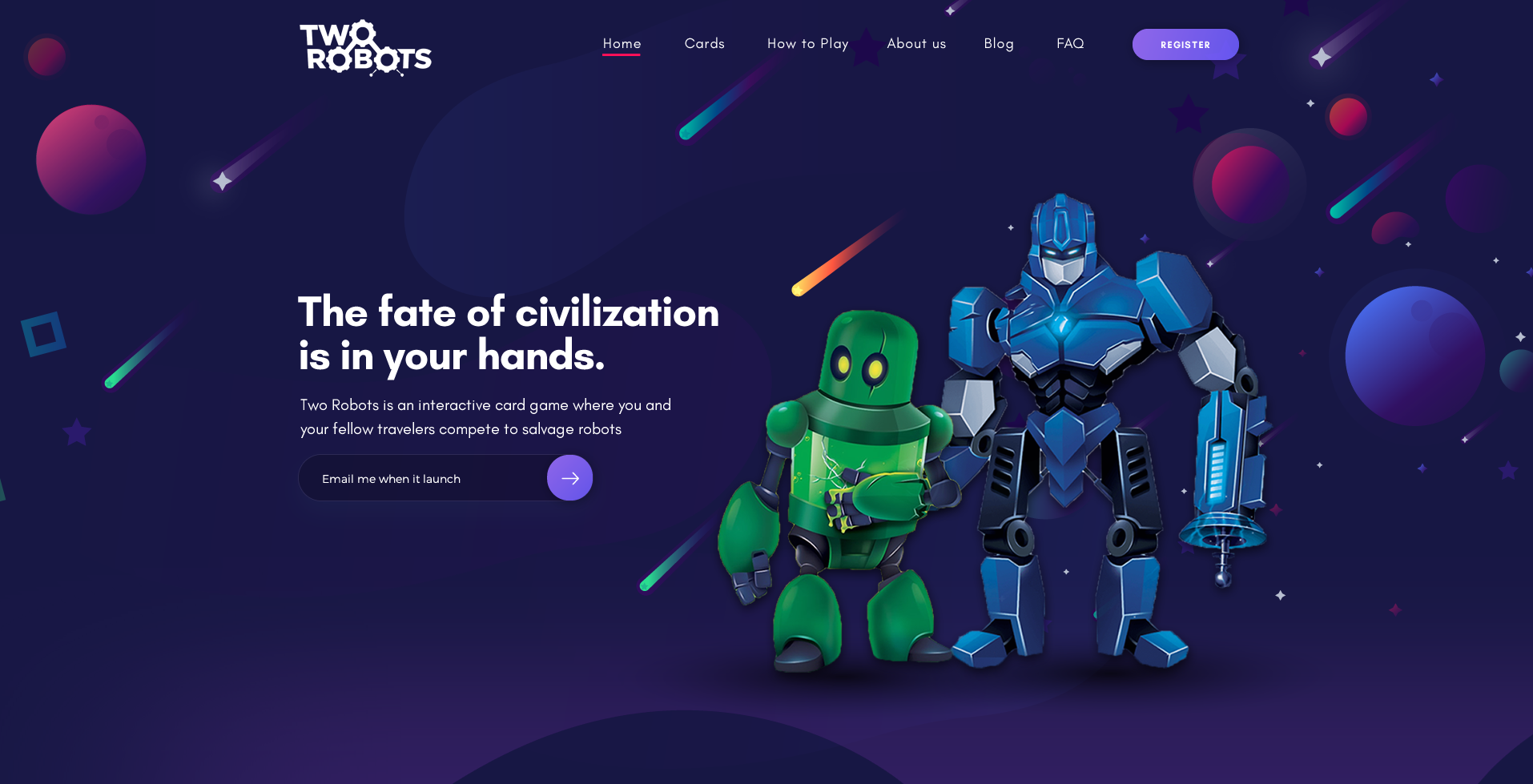 Two Robots landing page