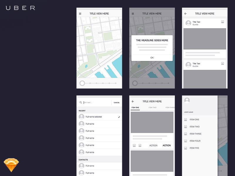 Uber app wireframe
