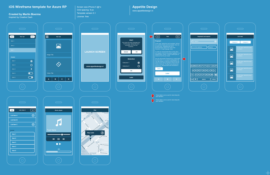 Axure iOS Flat Wireframe Template
