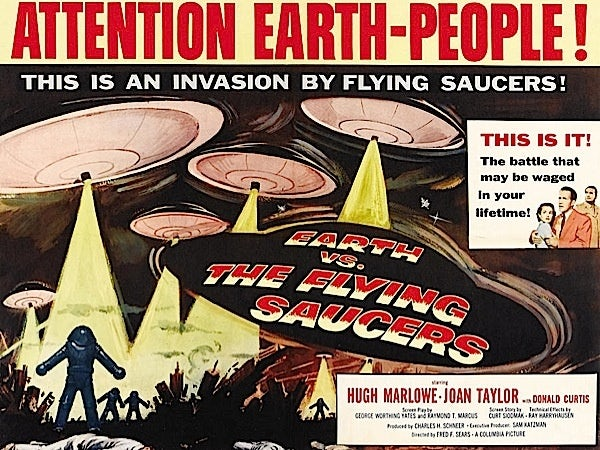 "Film poster for ""Earth vs. The Flying Saucers"""