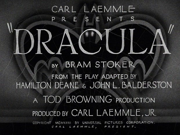 The title screen of 1931's Dracula
