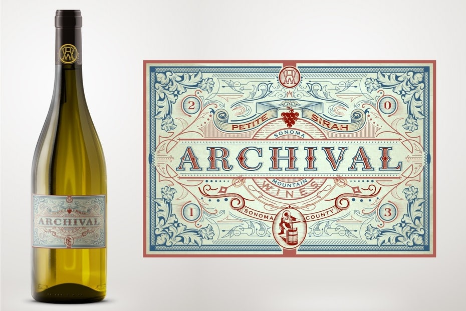 Archival wine Victorian Era packaging