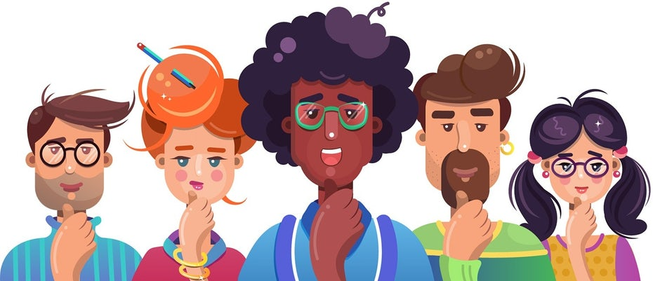 Flat-style illustrations depicting nerds working on their start-up