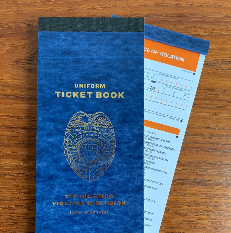 Typographic ticket book
