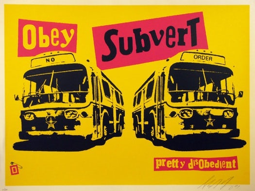 "Yellow poster with two buses and the text ""obey"" and ""subvert"""