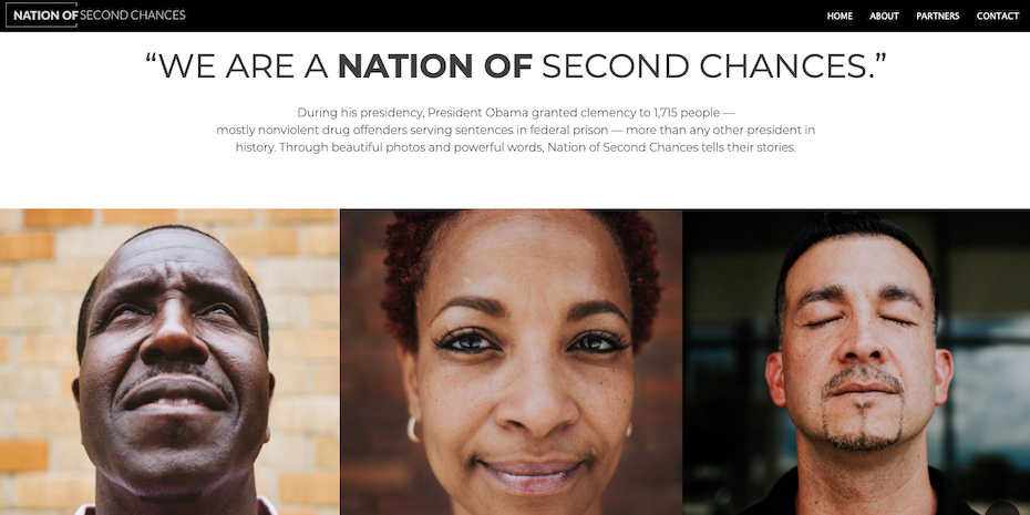 Nation of Second Chances web design