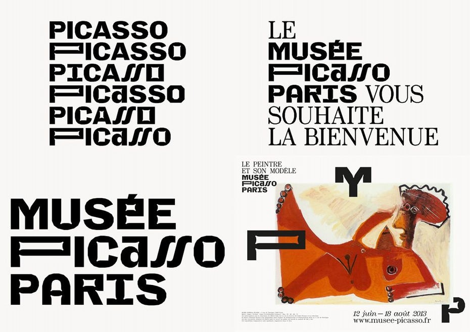 Logo options for the Musee Picasso Paris