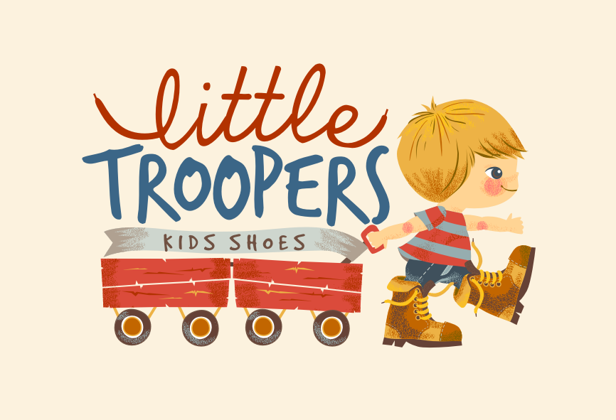 "Little boy in boots pulling two wagons with the text ""Little Troopers kids shoes"""