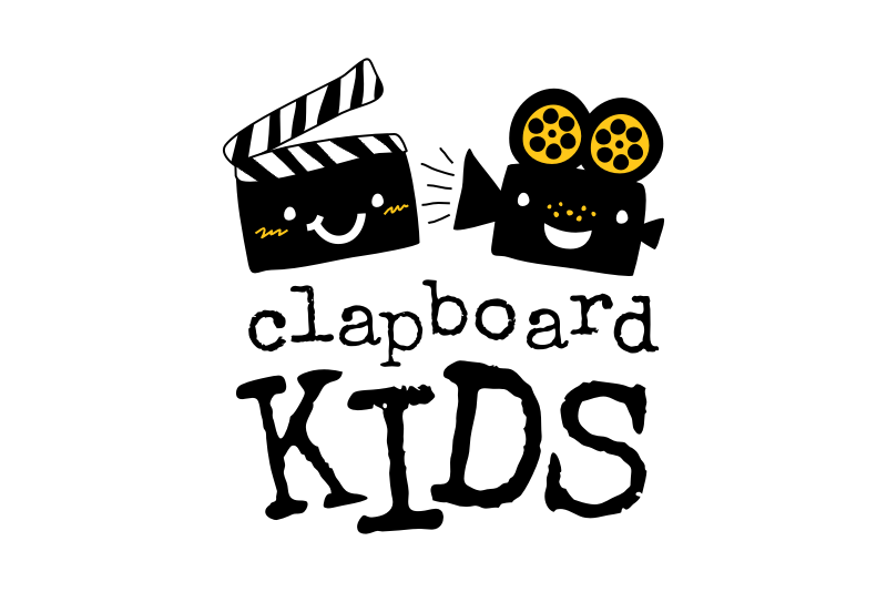 """A smiling clapboard and film projector with the text """"clapboard kids"""""""