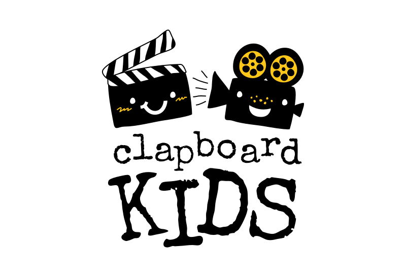 "A smiling clapboard and film projector with the text ""clapboard kids"""