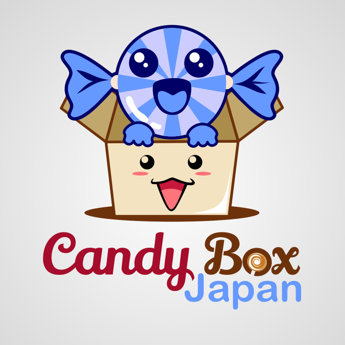 "Smiling piece of candy and box with the text ""candy box Japan"""