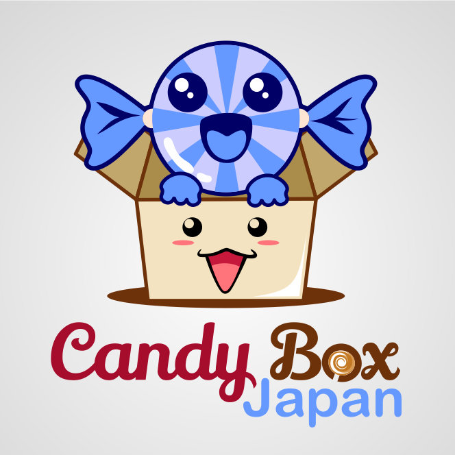 """Smiling piece of candy and box with the text """"candy box Japan"""""""