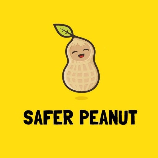 """Delighted peanut with the text """"safer peanut"""""""