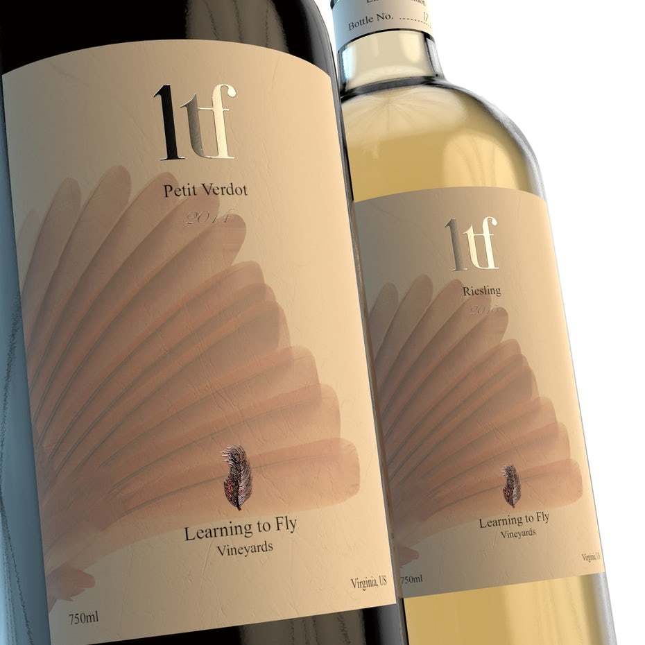 Elegant wine bottle design for Learning to Fly Vineyards