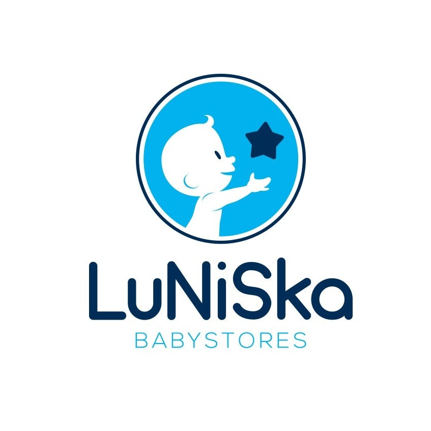 Round blue logo of a baby reaching for a star