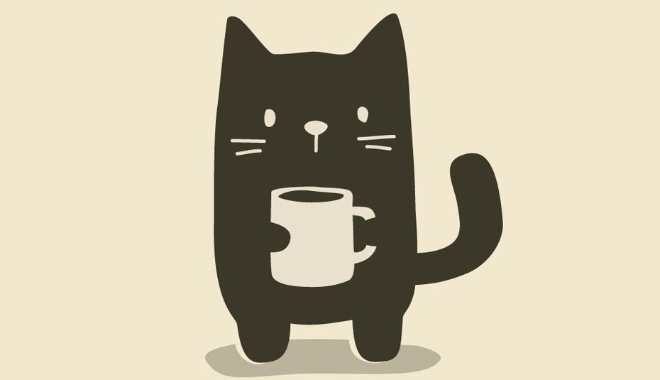 Black cat clutching a mug of coffee