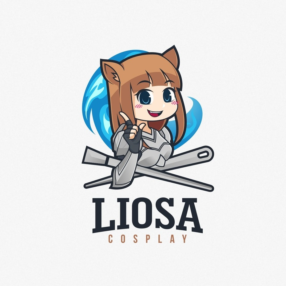 "Anime image of a lion girl giving the peace sign with the text ""liosa cosplay"""
