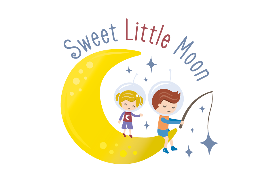 logo with kids and moon illustration