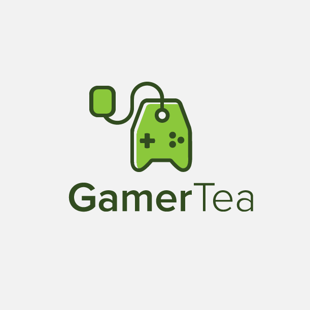 Green video game controller shaped like a teabag