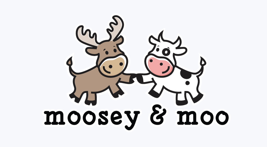 "A moose and a cow holding hands with the text ""Moosey & Moo"""