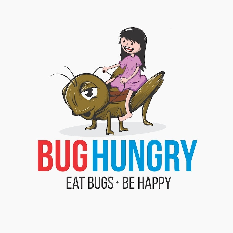 """Girl riding a grasshopper with the text """"bug hungry. Eat bugs be happy"""""""