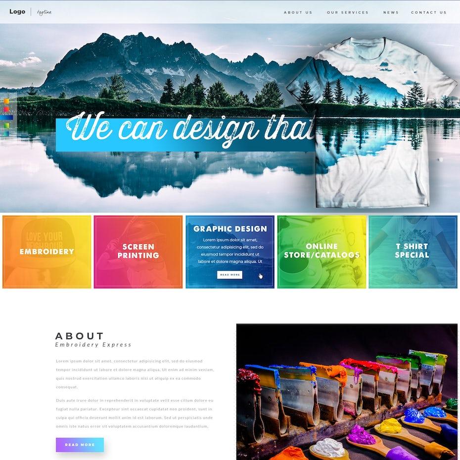 Printing Apparel Company website design