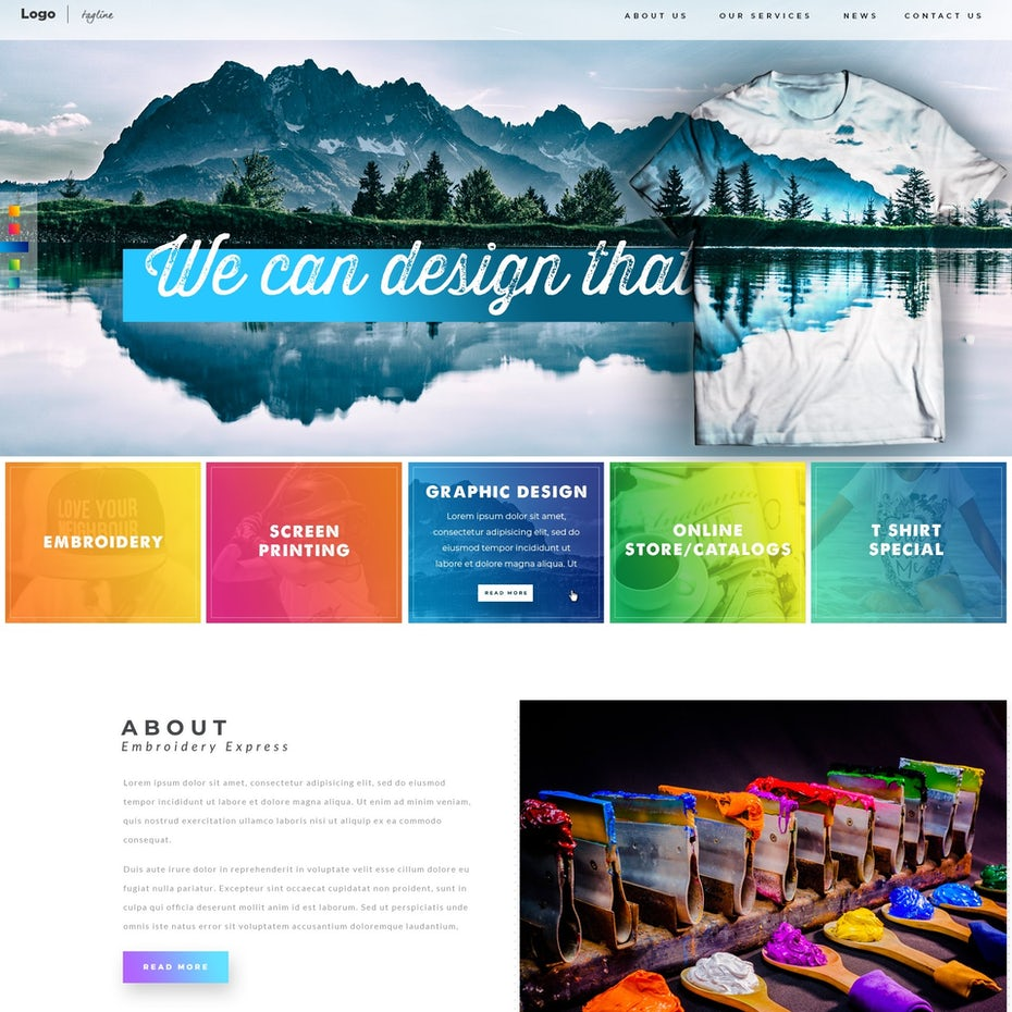 Printing Apparel Company website design