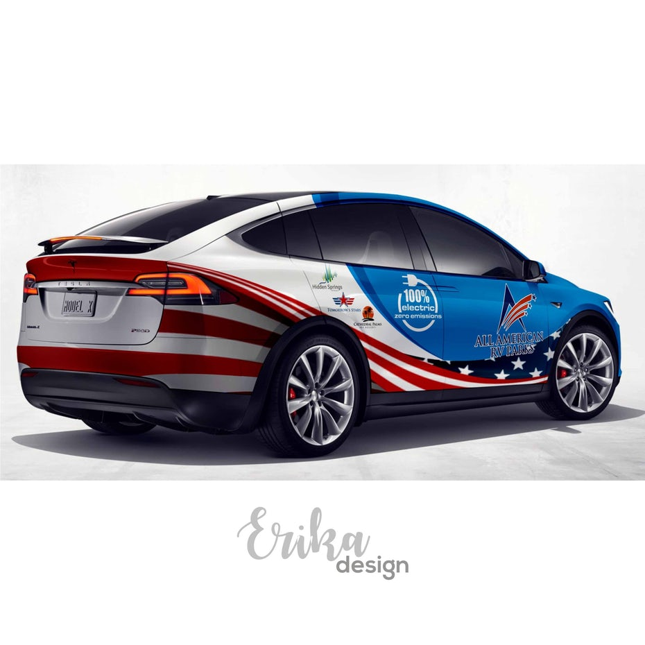 Colorful US flag EV/Green Tesla Model X Wrap