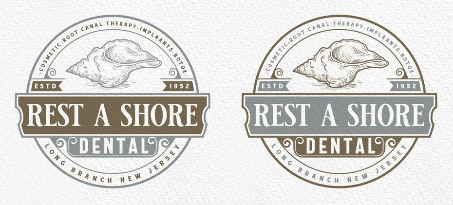 "Badge-style dental office logo with a shell and the words ""Rest a Shore Dental"""