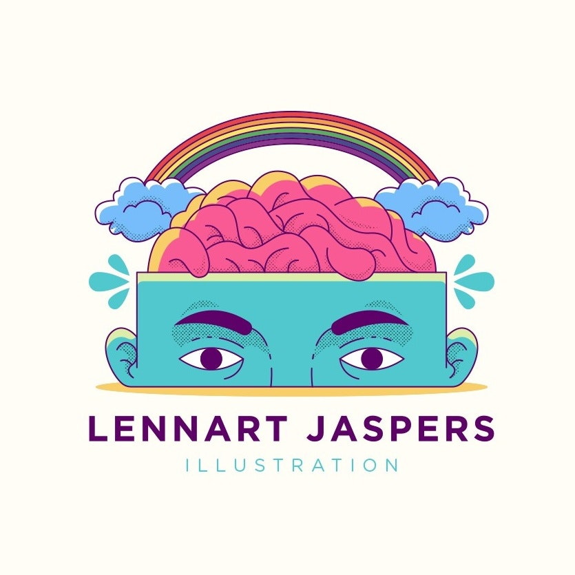 brain in a box head with rainbow illustration