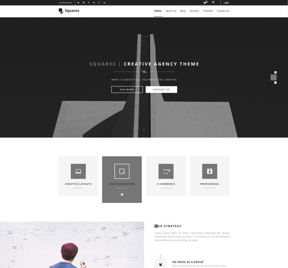 simple black and white web design