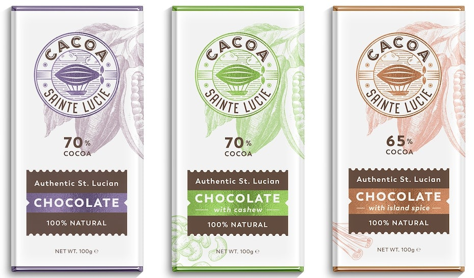 Sophisticated chocolate bar packaging