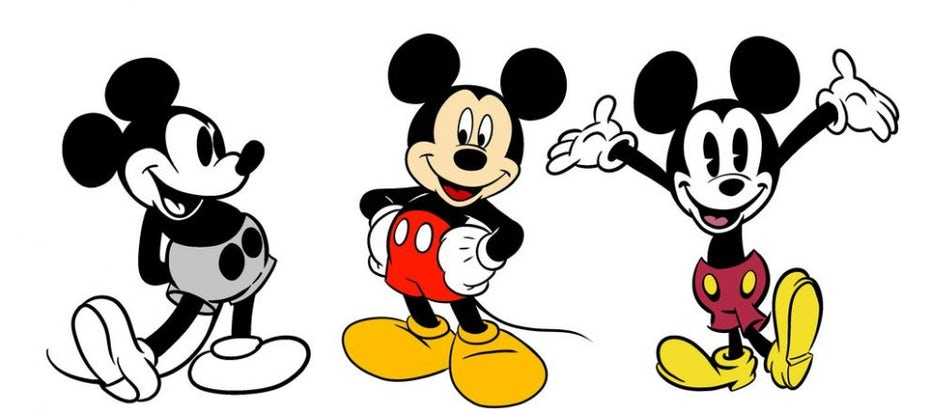 Three variations of Mickey Mouse