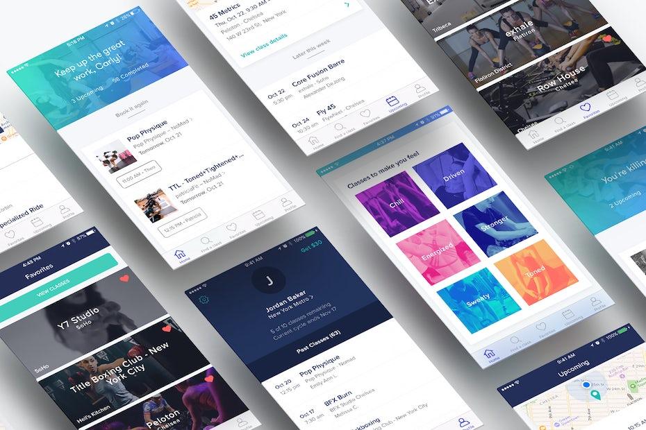 ClassPass app design mit farbverlauf