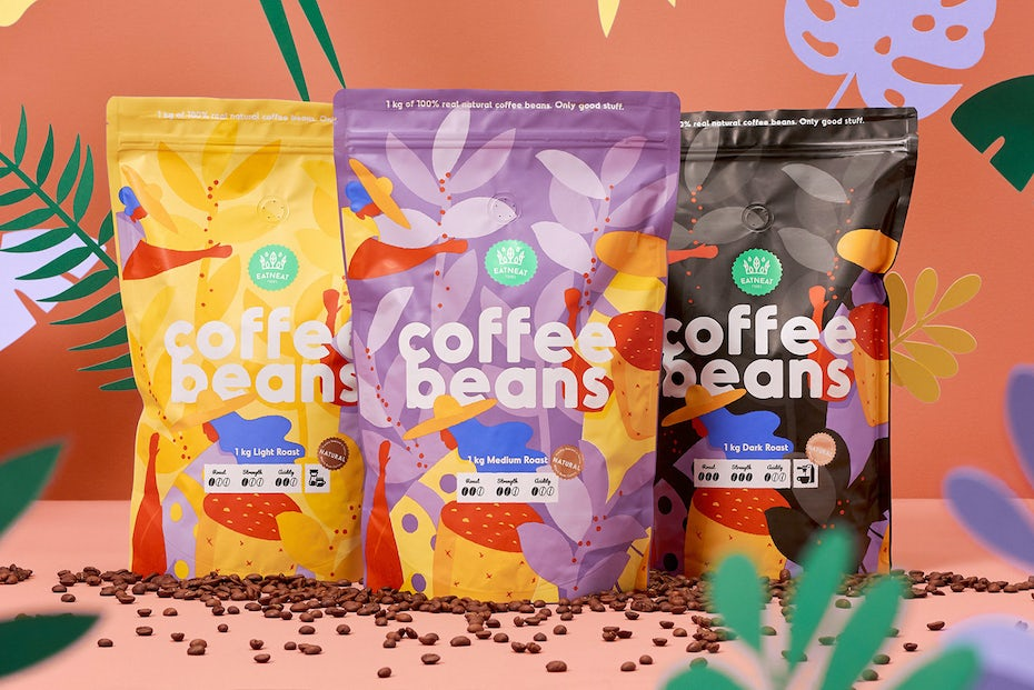 Foliage coffee beans design