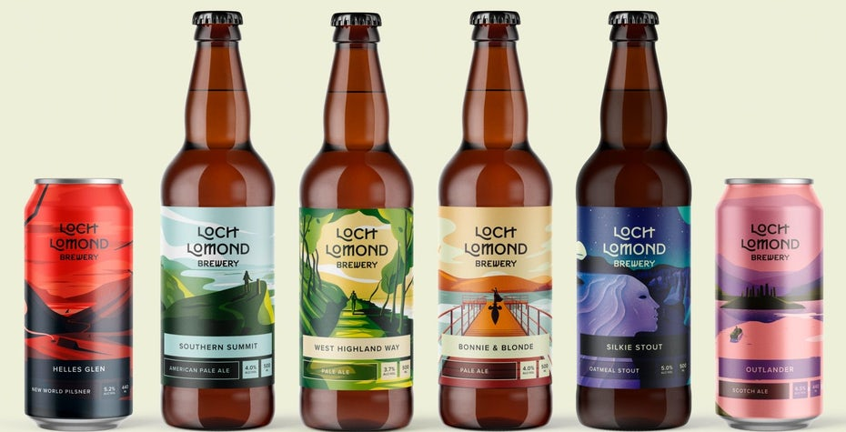 Loch Lomond Brewery story-like beer label illustrations