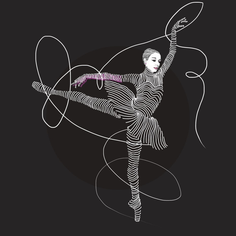 Ballet dancer made of curved lines