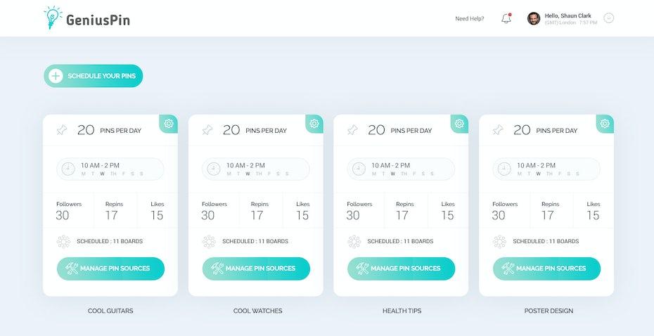 GeniusPin webdesign mit farbverlauf