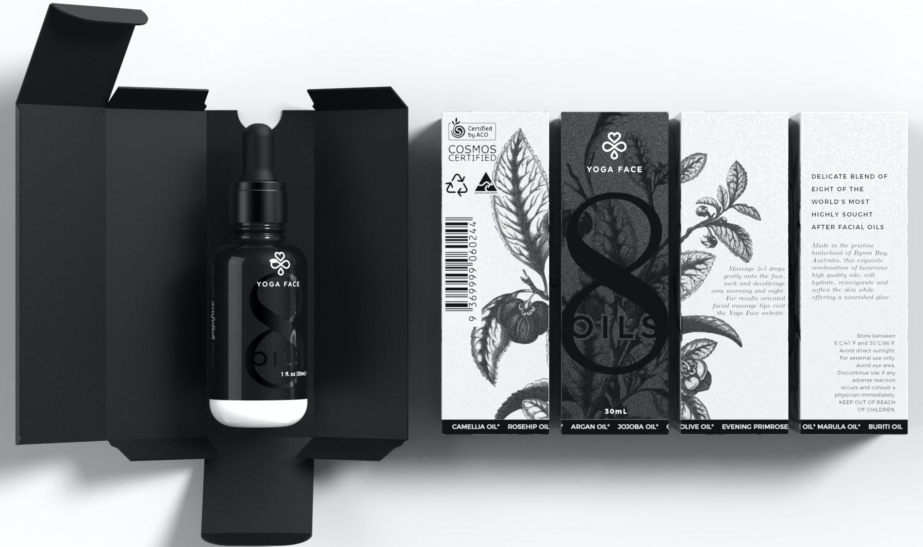 Black and white oil bottle design