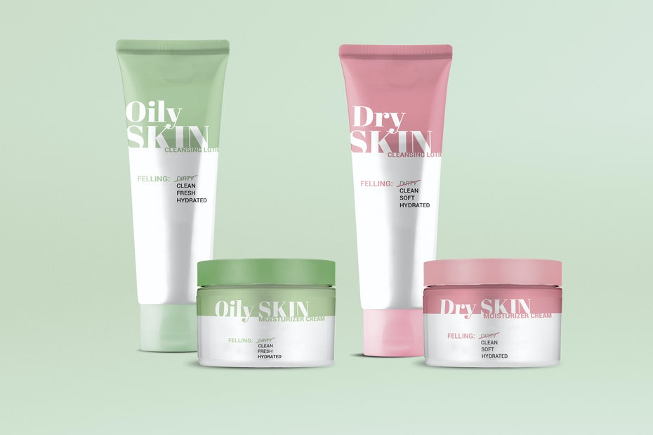 Pastel skincare packaging