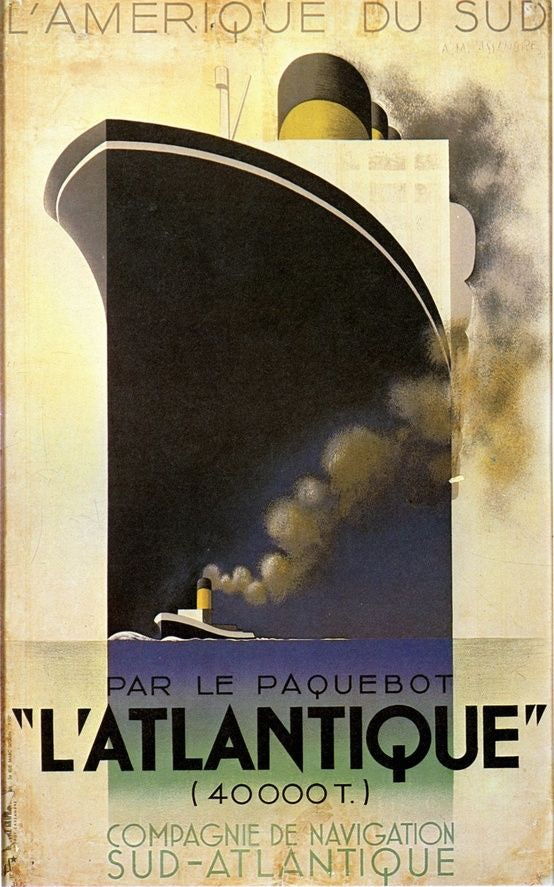 Poster of a luxury ocean liner by A.M. Cassandre