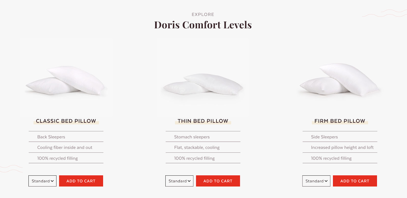 Pillow product choices