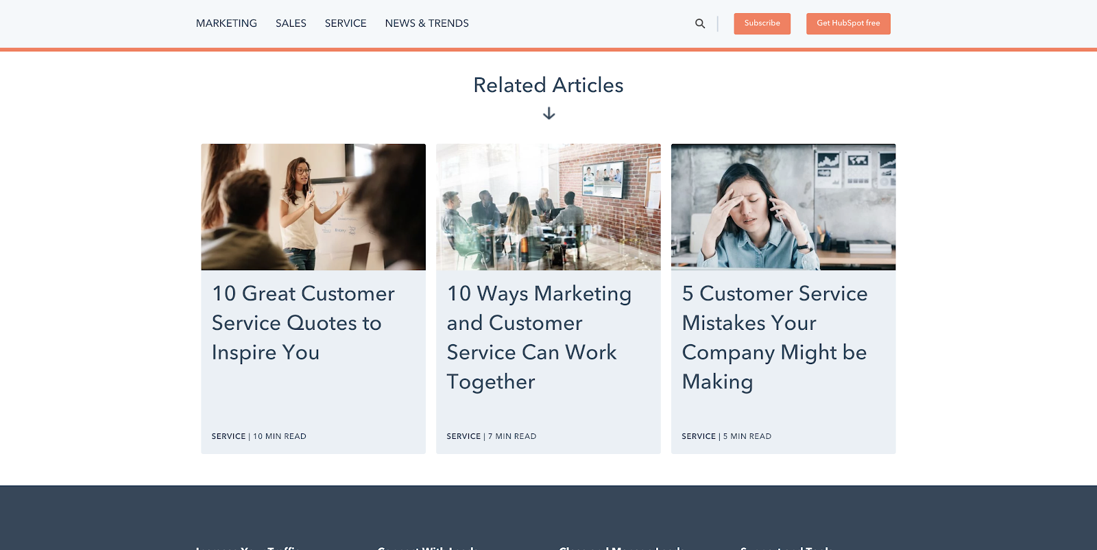 Hubspot page with related articles