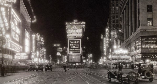 A photo of 1920s Times Square at night