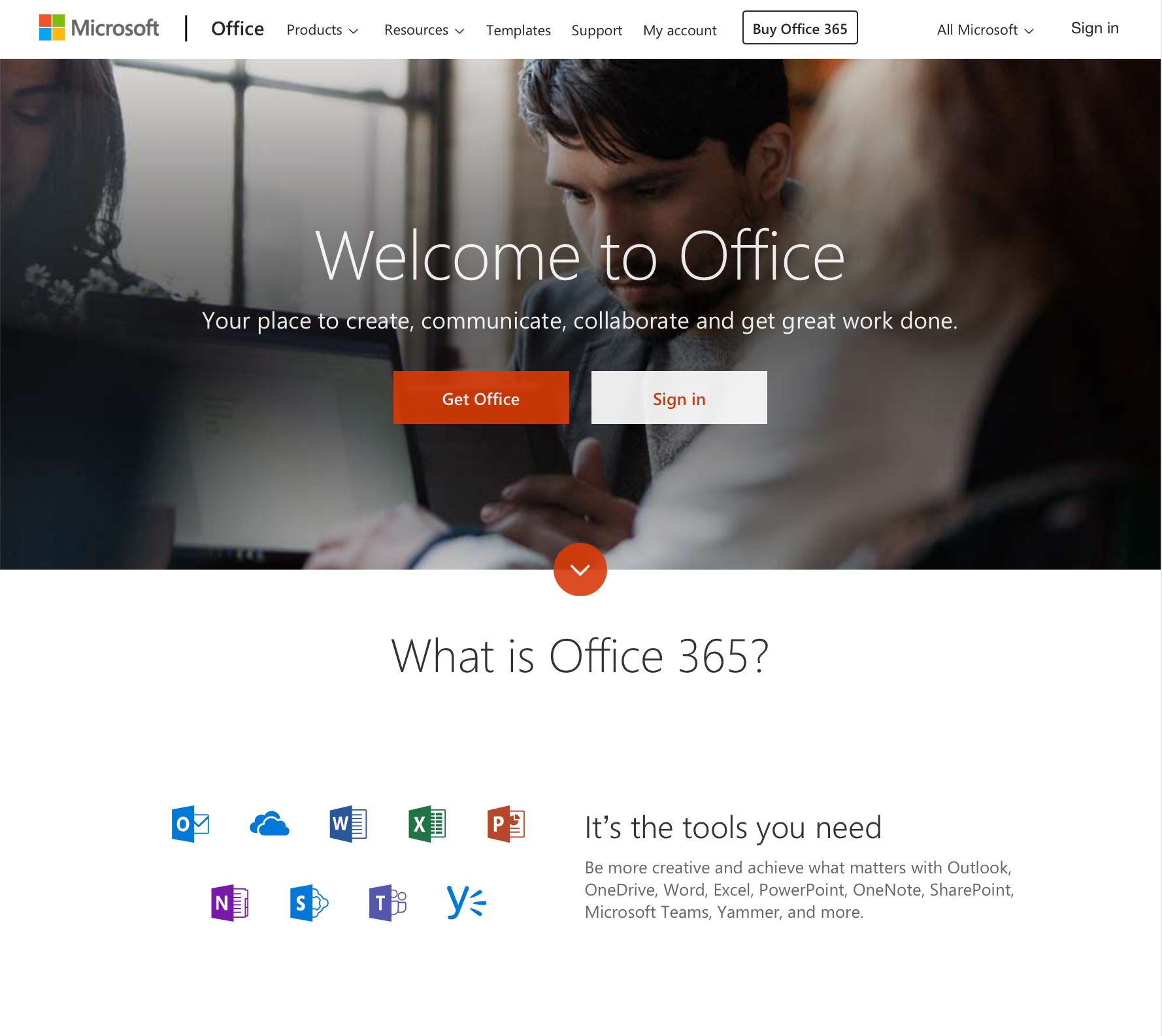 Microsoft Office homepage
