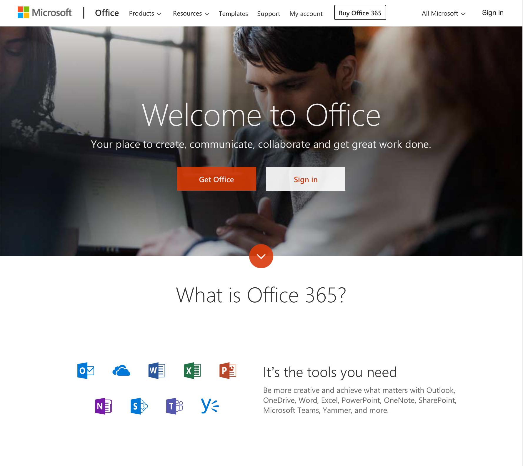 Microsoft Office homepage